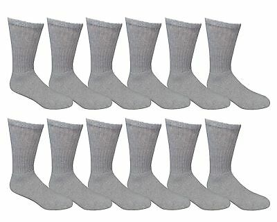 3 6 12 Pairs Mens Sports Work Athletic Grey Cotton Crew Socks Size Men 10-13