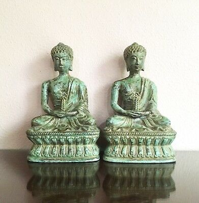 Pair of Vintage Patinated Bronze Seated Buddhas, Likely Mid-Cebtury Thailand