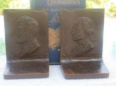 Antique Griffoul bookends, Washington and Lincoln, dated 1915, bronze