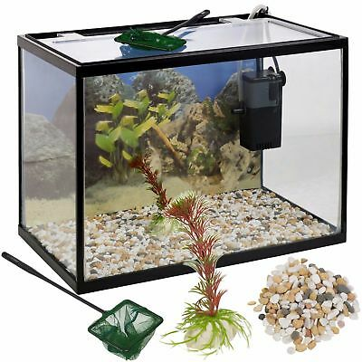 18 Litre Glass Aquarium Fish Tank Starter Kit Set Filter Pump Net Plant Stones