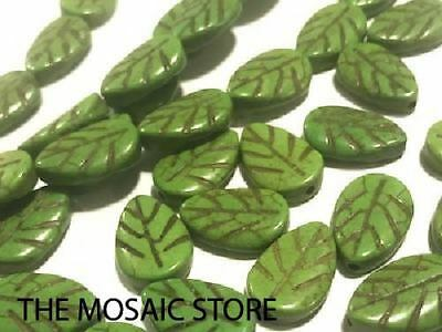 Large Green Leaf Beads - Mosaic Tiles Supplies Art Craft