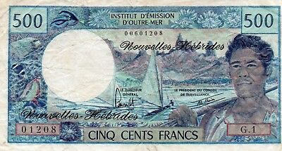New Hebrides Cinq Cents Francs 500 Bank Note