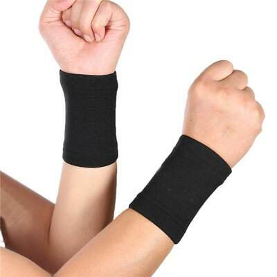 Pair Elastic Sports Wrist Band Injury Brace Support Wrap Tennis Gym Yoga Fitness