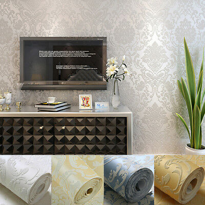 5M Self-Adhesive Damask Embossed Flocked Textured Non-Woven Art Wallpaper Roll