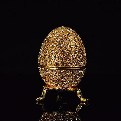 Easter Egg Ornaments Decoration Craft Ornament Metal Gold Stone Faberge Egg.