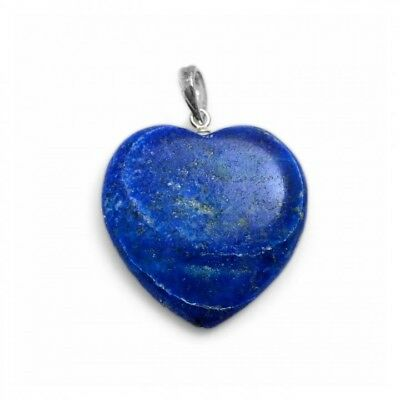 Lapis Lazuli Heart pendant and sterling silver fine curb chain