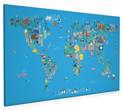 Animal Map of the World for Children and Kids Box Canvas and Poster Print (62)