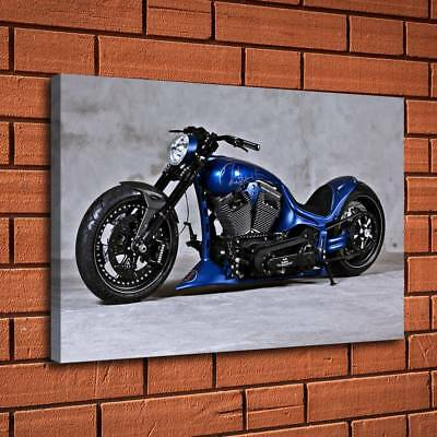 """12""""x18""""Motorcycle Blue Painting HD Print Canvas Home Decor Room Wall Art Picture"""