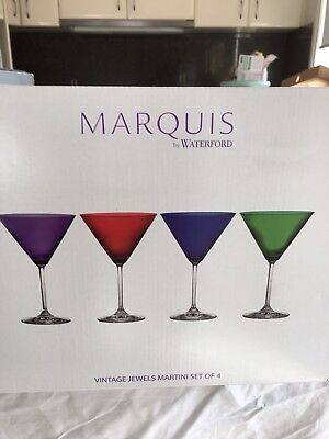 """Marquis By Waterford """"Vintage Jewels """"Martini Glasses Set Of 4"""