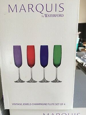 """Marquis By Waterford """"Vintage Jewels""""  Champagne flutes Set Of 4"""