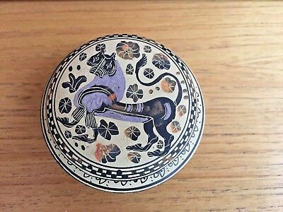 Greek Hand-Painted Plate Dish bowl trinket with Ancient designs 3""