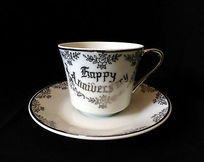 JAPAN Porcelain HAPPY ANNIVERSARY TEA CUP & SAUCER silver & white floral wedding