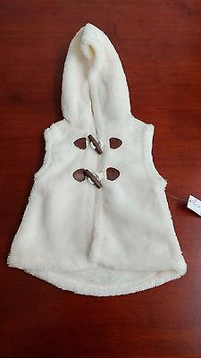 Baby girl fleece hoodie vest w/wooden toggle buttons, Old Navy, cream, 12-18 mos