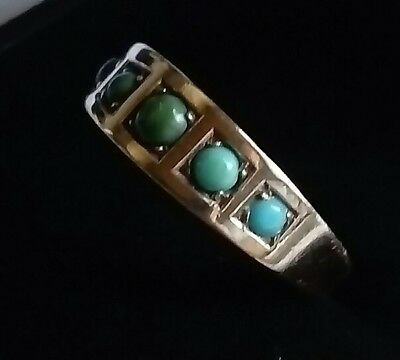 Antique Victorian 15ct 15k Yellow Gold Turquoise Five Stone Ring