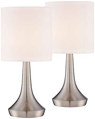 "Modern Accent Table Lamps 13"" Set of 2 Brush Steel Touch Switch for Bedroom"