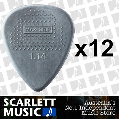 12 X Jim Dunlop Max Grip Nylon 1.14mm Gauge Grey Guitar Picks *NEW*