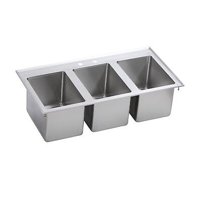 """Elkay DI-3C-101410X Stainless Steel Drop in Sink with 3 Compartments, 37"""" Length"""