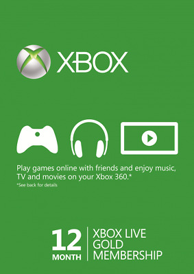 12 Month Microsoft Xbox Live Gold Membership Card / Code * Posted *