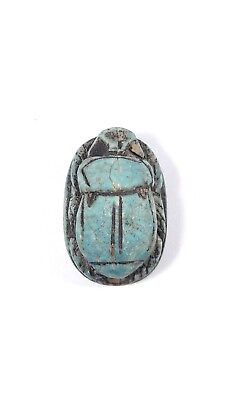 Ancient Egyptian Blue Scarab Beetle Amulet Figurine, 1400 B.C
