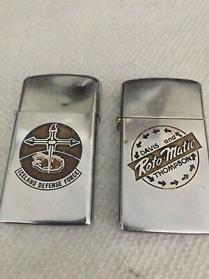 Vintage Zippo Slim Lighters Lot Of 2