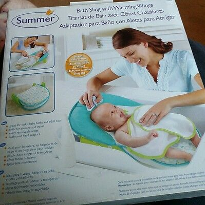 9dde1f5e52c Summer Infant Deluxe Baby Bath Travel Folding Sling Seat with Warming Wings  NEW