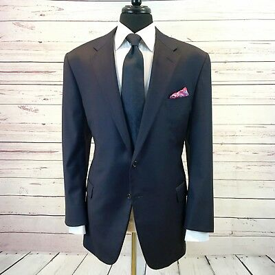 RECENT Hickey Freeman Addison Side Vent LORO PIANA Wool Blue Check 48 Suit 40x30
