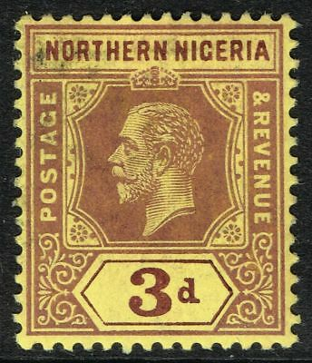 SG 43 NORTHERN NIGERIA 1912 – 3d PURPLE/YELLOW – MOUNTED MINT