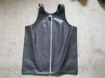 Mens black leather bar vest gay interest Stormy Leather size L zipper front