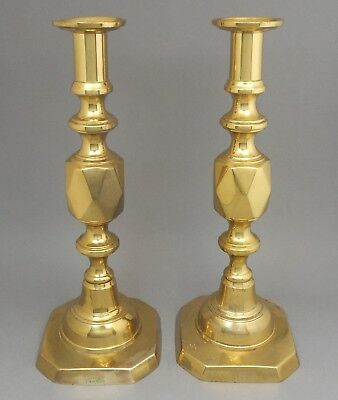 Pair of Antique English Victorian Queen of Diamonds Brass Push Up Candlesticks