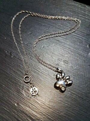 dog paw pendant necklace in sterling silver