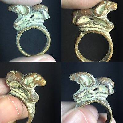 wonderful Bronze Ancient Byzantine Animal Ring