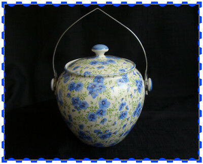 Shelley BLUE PANSY CHINTZ Biscuit Barrel UNUSUAL PIECE