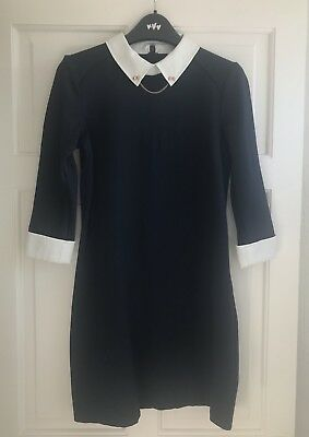 Ted Baker Wubty Navy Contrast Collar Dress With Rose Gold Chain Detail Size 2 10