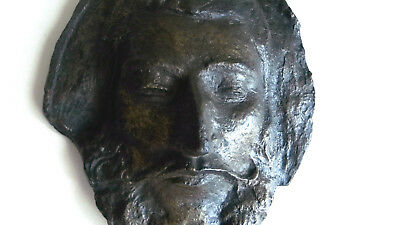 VTG Brutalist Resin Face Sculpture Modernist Jesus ? Wall Hanging Austin Prod St