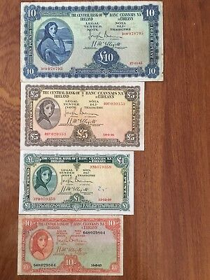 Lady Lavery Bank Notes, £10 £5 £1 & 10/s. 1945 - 1949.