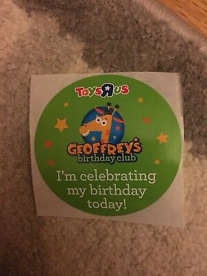 Geoffrey's Birthday Club Stickers Lot of 2 Toys R Us Collectible Memorabilia New