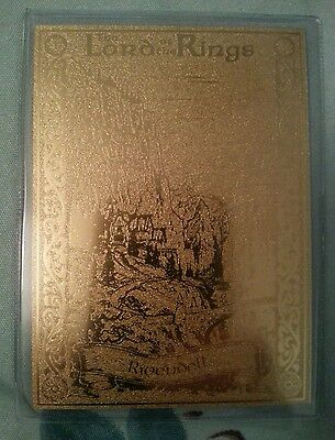 Rare 22Ct Gold Lord Of The Rings Danbury Mint Trading Card Rivendell