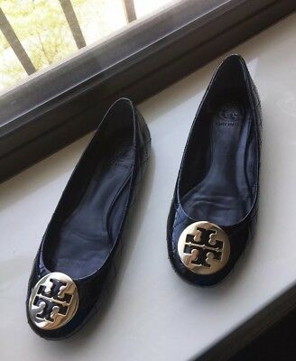 c0451e9d18c5 Tory Burch QUINN Quilted Patent Leather Ballet Flat Gold Logo Women s Shoes  7.5