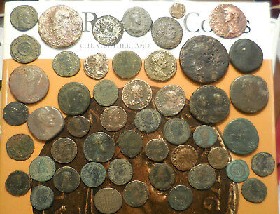 Lot of 50  F-VF Ancient Roman Coins, Largest 36 mm, Many High Resolution Photos!