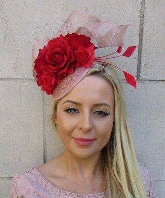 Red & Nude Sinamay Rose Flower Feather Hat Fascinator Races Wedding Hair 5897