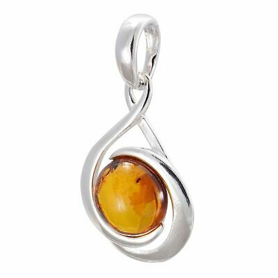 "Sterling Silver and Baltic Honey Amber Pendant Necklace /""Willow/"""