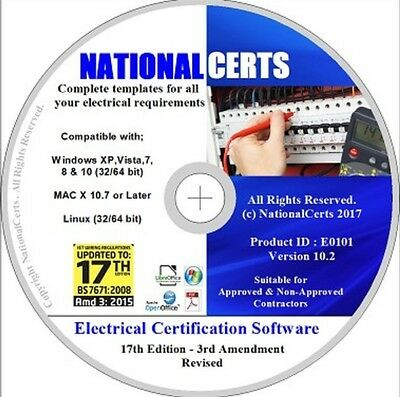 ELECTRICAL CERTIFICATES, SOFTWARE 17th ED EICR's Genuine Product. NICEIC