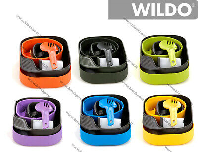 Wildo CAMP-A-BOX camping plastic mess kit,, DIFFERENT colors. Full set.