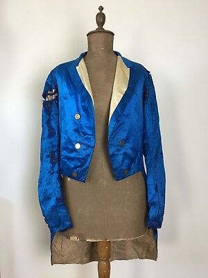 Antique 18th Century Mens Tail Coat Blue Silk Firmin & Sons Buttons