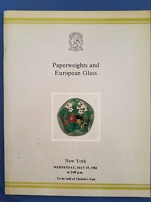 Christie's Auction - Paperweights & European Glass Auction Catalog - 1982 +List