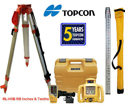Topcon RL-H5B Rechargeable Rotating Laser Level, Tripod & Rod (Inches & Tenths)