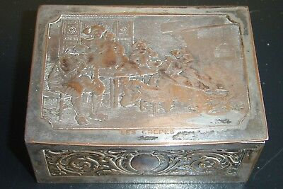 ANTIQUE / VINTAGE ART NOUVEAU FRENCH STYLE JEWELLRY BOX with LES CREPES on LID
