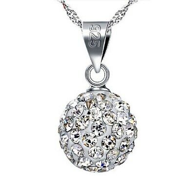 925 Sterling Silver Plated Crystal Beaded Ball Choker Sweater Pendant for 2
