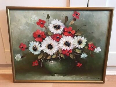 Charming Oil Painting On Board Of Flowers In Gold Frame