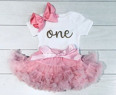 Luxury Girls 1st First Birthday Tutu Skirt Outfit Pink Cake Smash Boutique Set